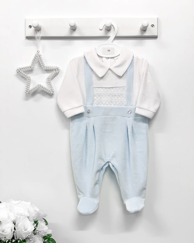 "Little Nosh ""Jasper"" Baby Blue Velour Smocked Babygrow 