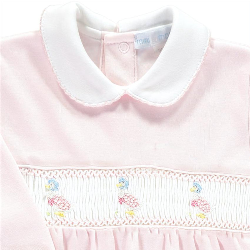 Mini-la-Mode Jemima Puddle-Duck Pink Smocked Footsie | Millie and John