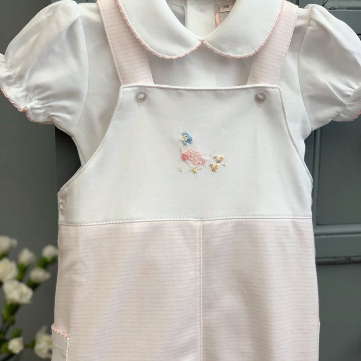 Mini-la-Mode Jemima Puddleduck Pink Striped Dungaree Set | Millie and John