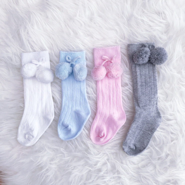 Soft Touch Knee High Pom Pom Socks | Millie and John