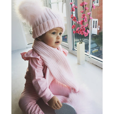 Kinder Knitted Double Faux Fur Pom Pom Hat | Millie and John