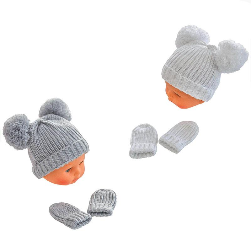 Soft Touch Knitted Double Pom Pom Hat & Mittens Set | Millie and John