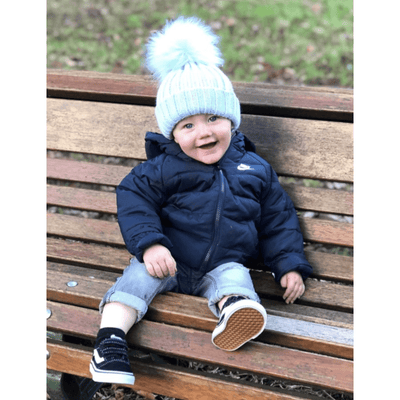 Kinder Knitted Faux Fur Pom Pom Hat | Millie and John