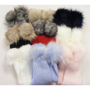 Kinder Knitted Faux Fur Pom Pom Scarf | Millie and John
