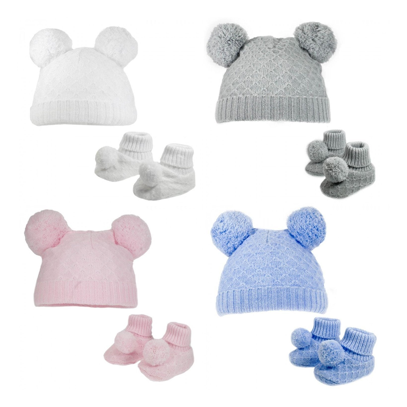 Soft Touch Knitted Pom Pom Hat & Booties Set | Millie and John