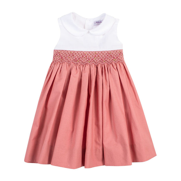 "Kidiwi ""Lalie"" Dusty Rose Sleeveless Smocked Dress 
