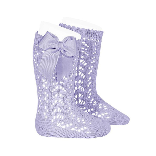Condor Lavender Lace Openwork Bow Socks | Millie and John