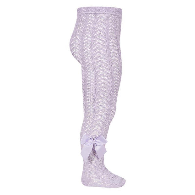 Condor Lavender Lace Openwork Bow Tights | Millie and John