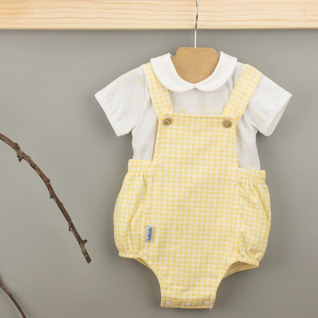 Babidu Lemon Gingham Dungaree Romper Set | Millie and John