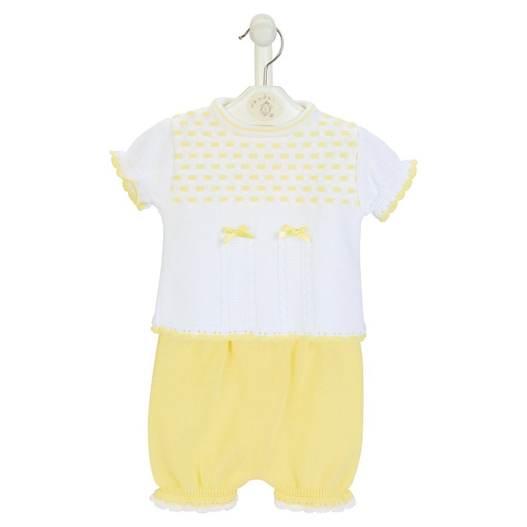 Dandelion Lemon Knitted Top & Bloomers | Millie and John