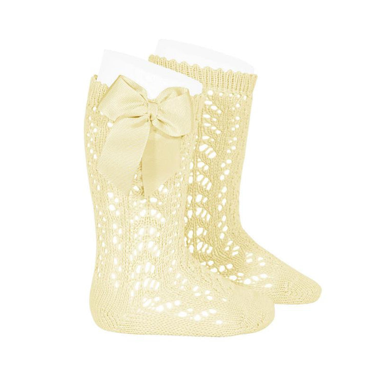 Condor Lemon Lace Openwork Bow Socks | Millie and John