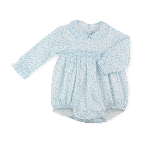 "Sardon ""Leticia"" Blue Floral Smocked Romper 