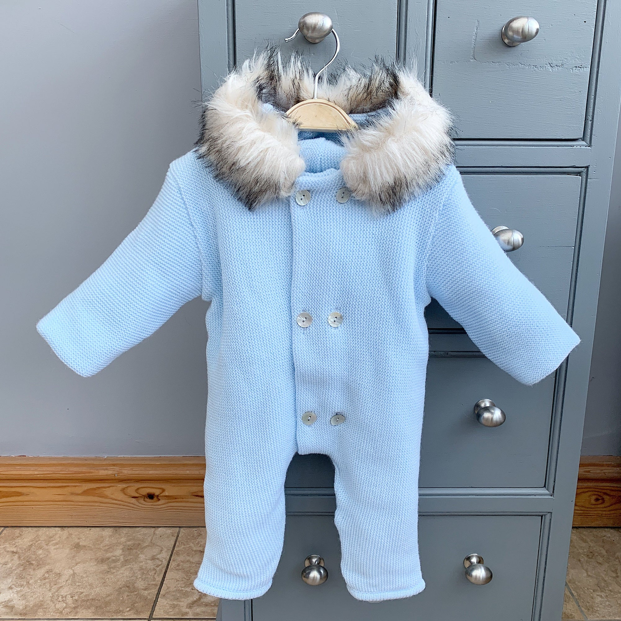 Mebi Light Blue Knitted Footless Pramsuit with Faux Fur Trim | Millie and John