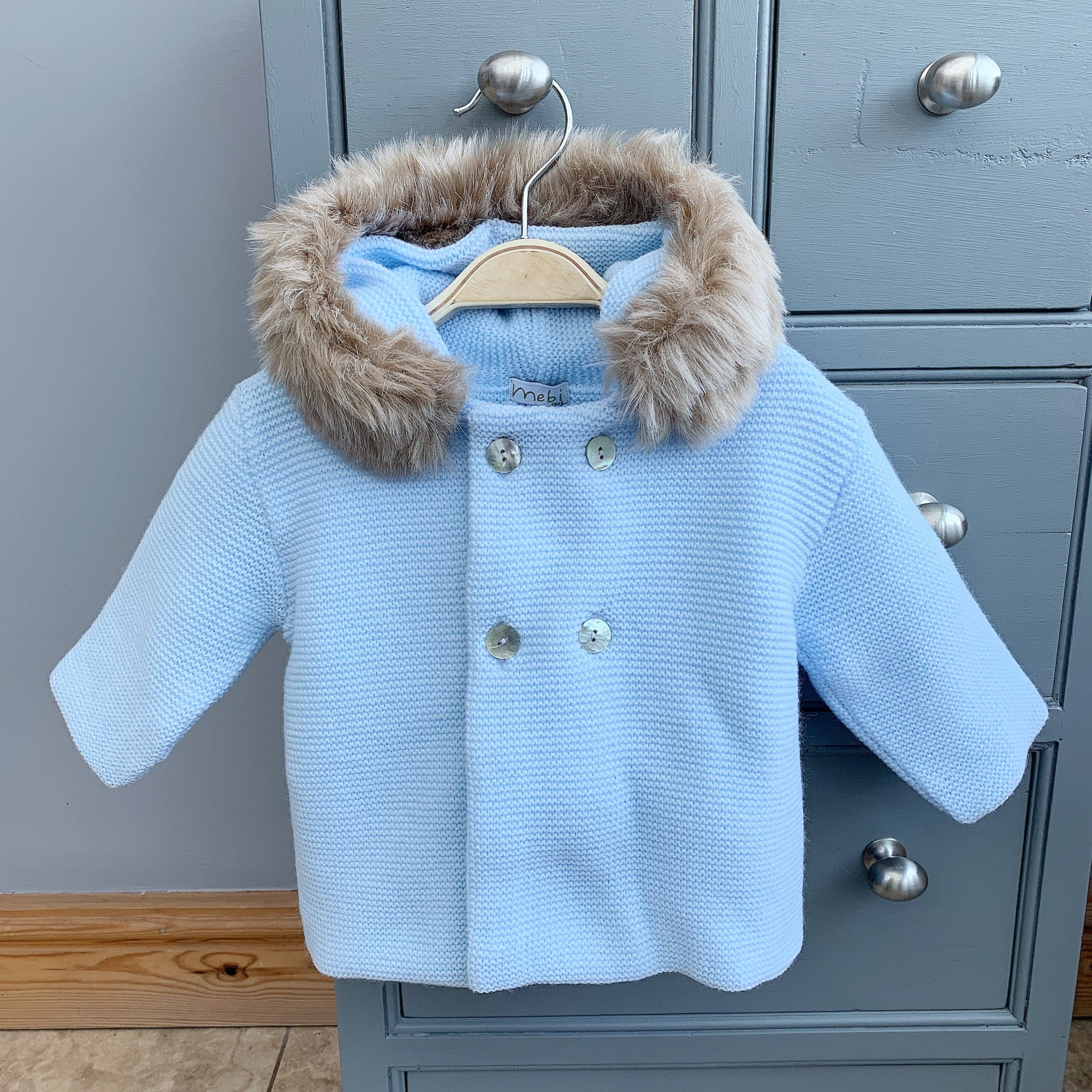 Mebi Light Blue Knitted Jacket with Faux Fur Trim | Millie and John