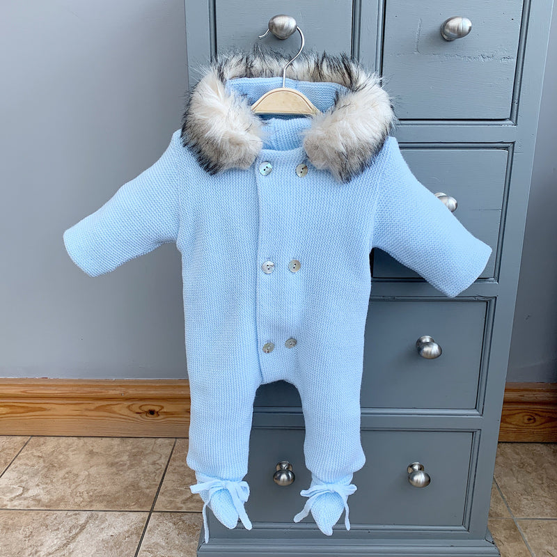 Mebi Light Blue Knitted Pramsuit with Faux Fur Trim | Millie and John