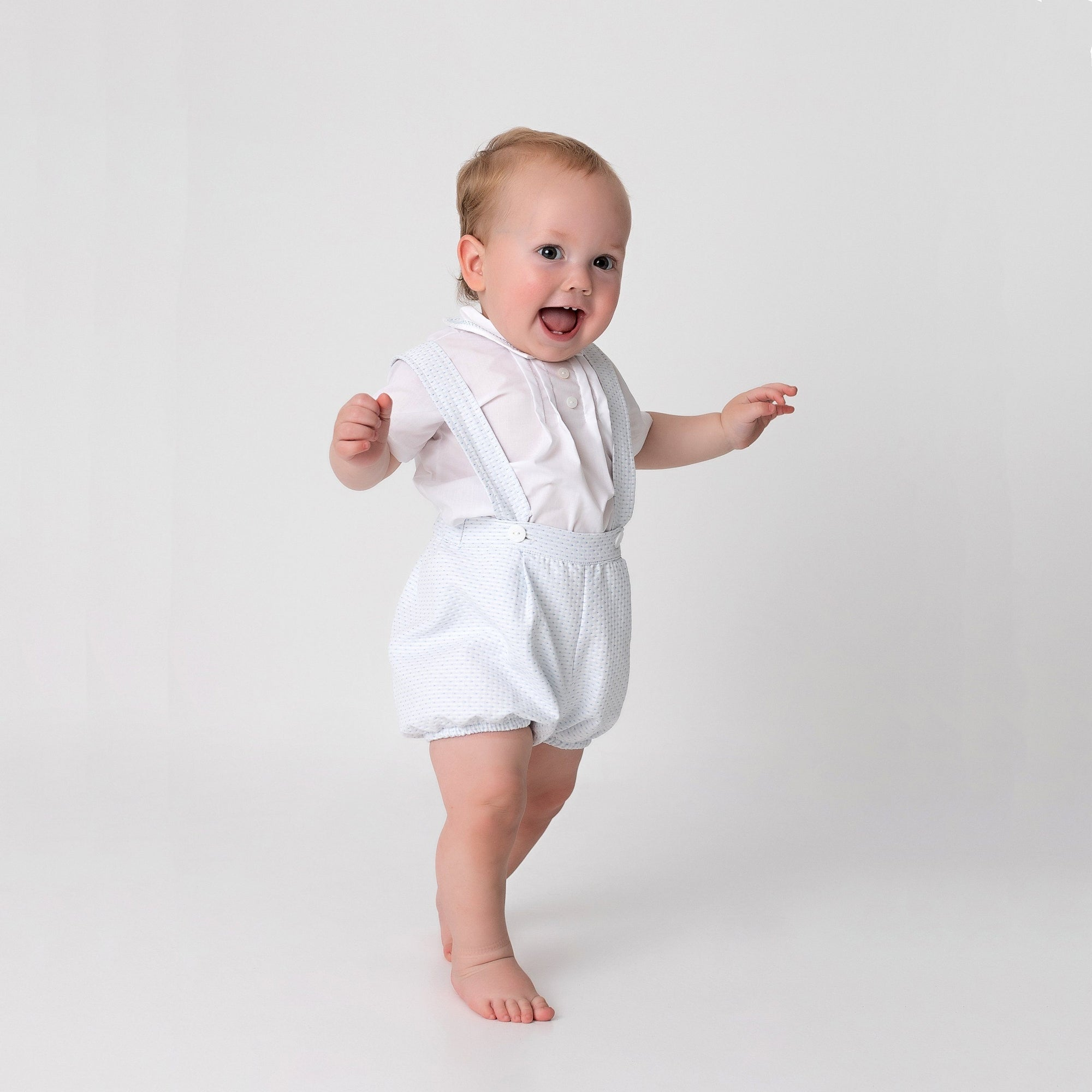 Little Nosh Light Blue Woven Shorts & Shirt Set | Millie and John