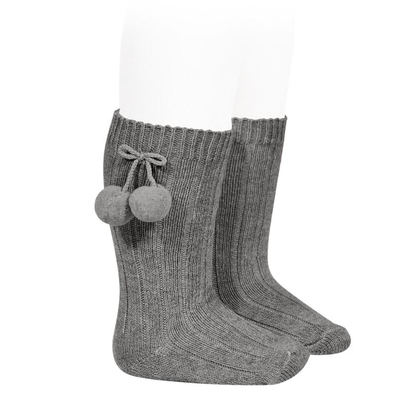 Condor Light Grey Knee High Pom Pom Socks | Millie and John