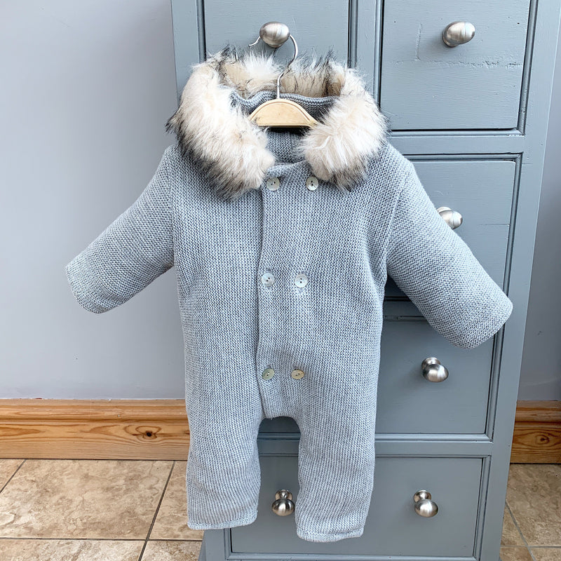 Mebi Light Grey Knitted Footless Pramsuit with Faux Fur Trim | Millie and John