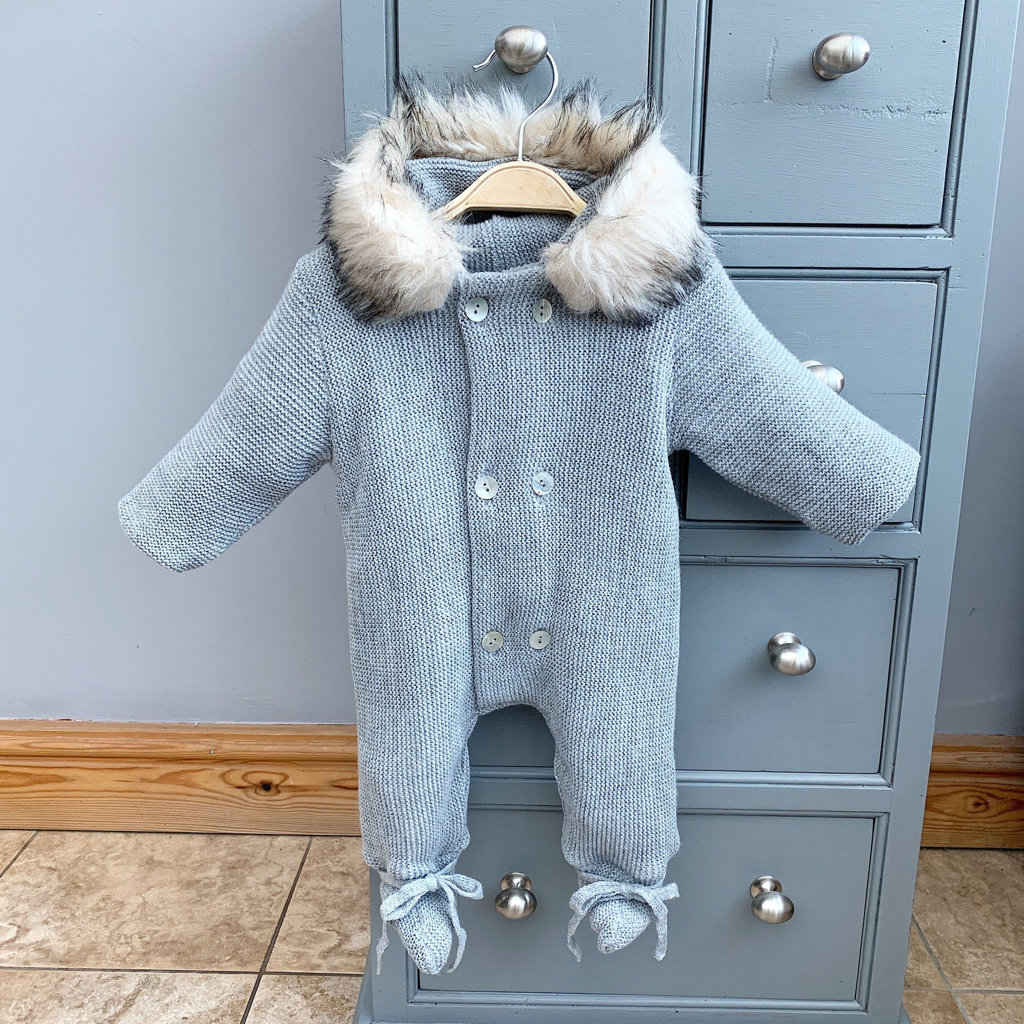Mebi Light Grey Knitted Pramsuit with Faux Fur Trim | Millie and John