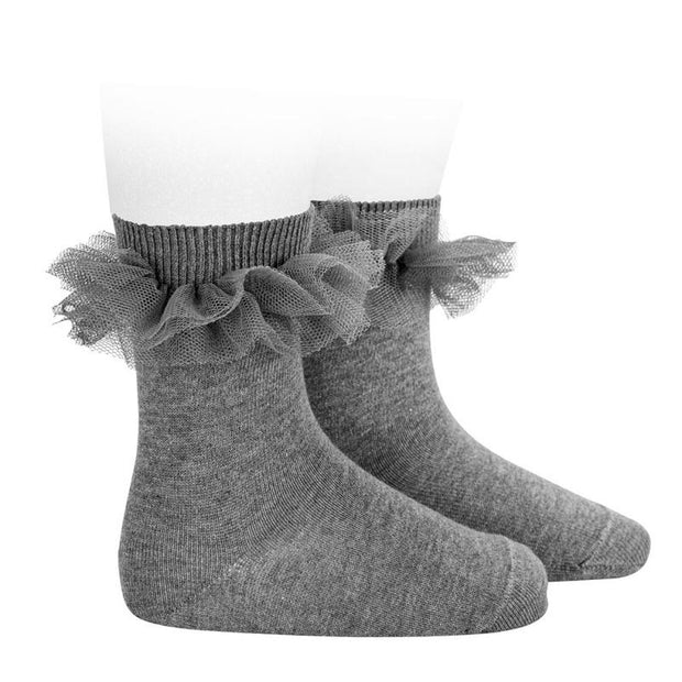Condor Light Grey Tulle Short Socks | Millie and John