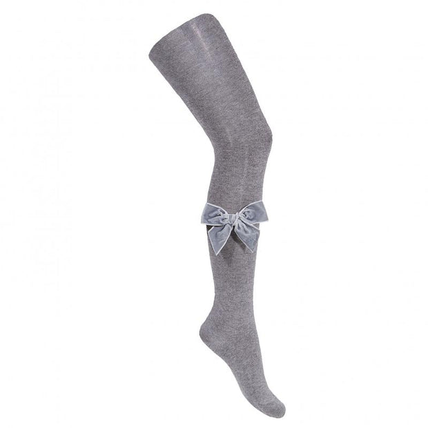 Condor Light Grey Velvet Bow Tights | Millie and John