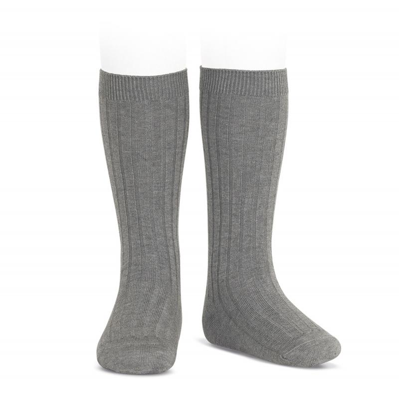 Condor Light Grey Wide Ribbed Knee High Socks | Millie and John