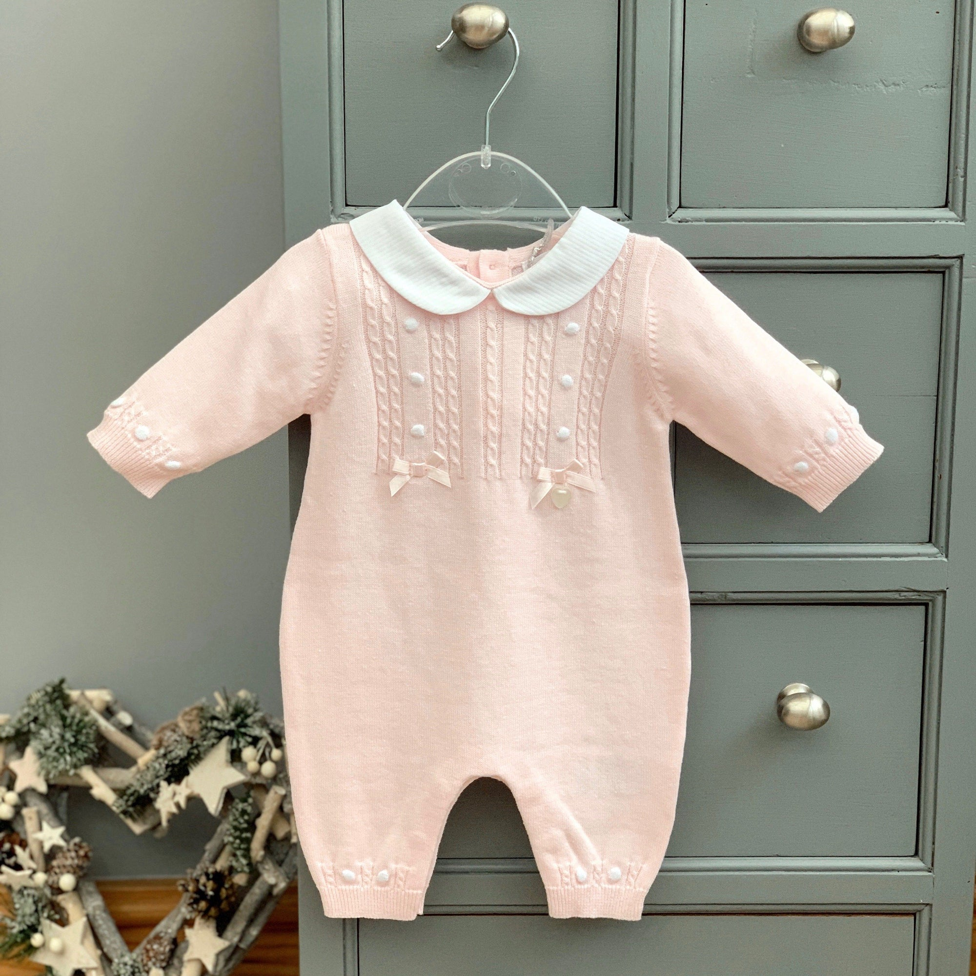 Blue's Baby Light Pink Knitted Romper | Millie and John