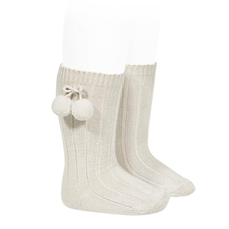 Condor Linen Knee High Pom Pom Socks | Millie and John