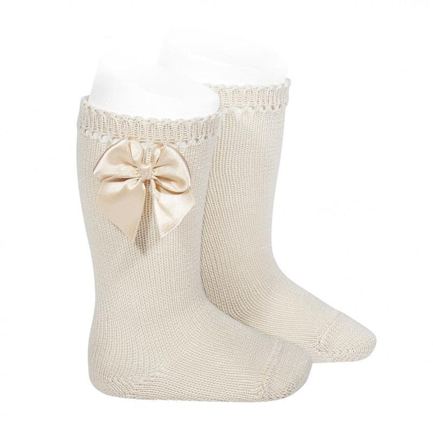 Condor Linen Perlé Satin Bow Socks | Millie and John