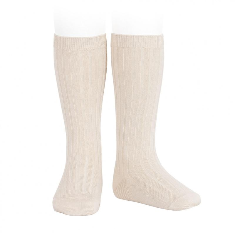 Condor Linen Wide Ribbed Knee High Socks | Millie and John