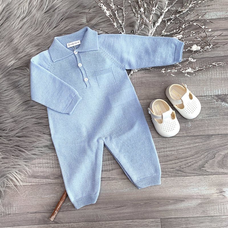Wedoble Medium Blue Knitted Collared Romper | Millie and John