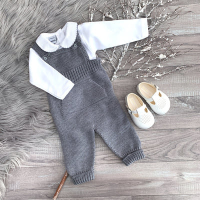 Wedoble Medium Grey Knitted Dungarees | Millie and John