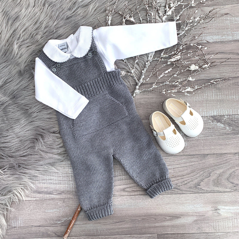 Medium Grey Knitted Dungarees
