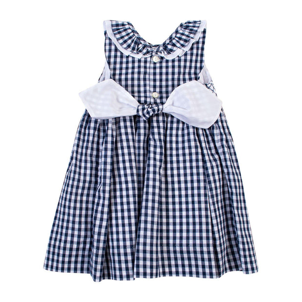 "Kidiwi ""Melina"" Navy Gingham Smocked Dress 
