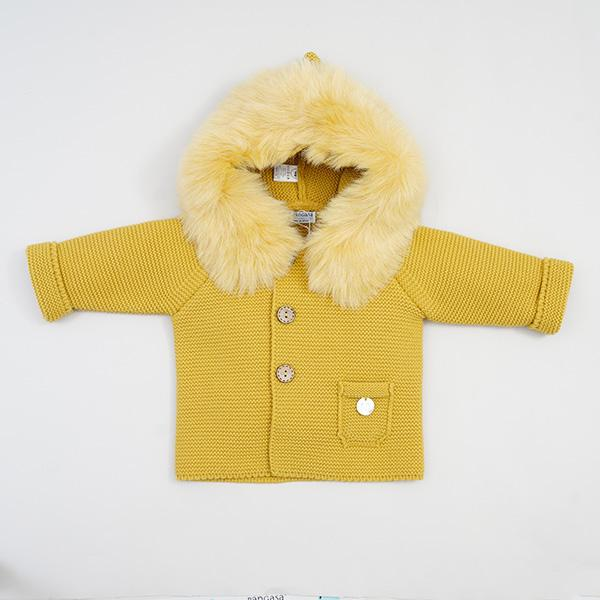Pangasa Mustard Faux Fur Knitted Jacket | Millie and John