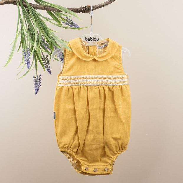 Babidu Mustard Smocked Romper | Millie and John