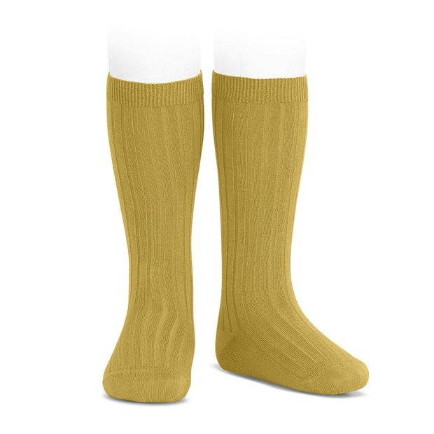 Condor Mustard Wide Ribbed Knee High Socks | Millie and John