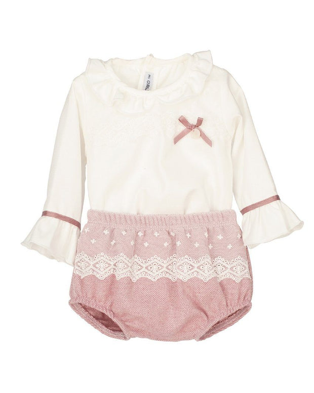 "Calamaro Excellentt ""Narvi"" Dusky Pink Lace Blouse & Bloomers 