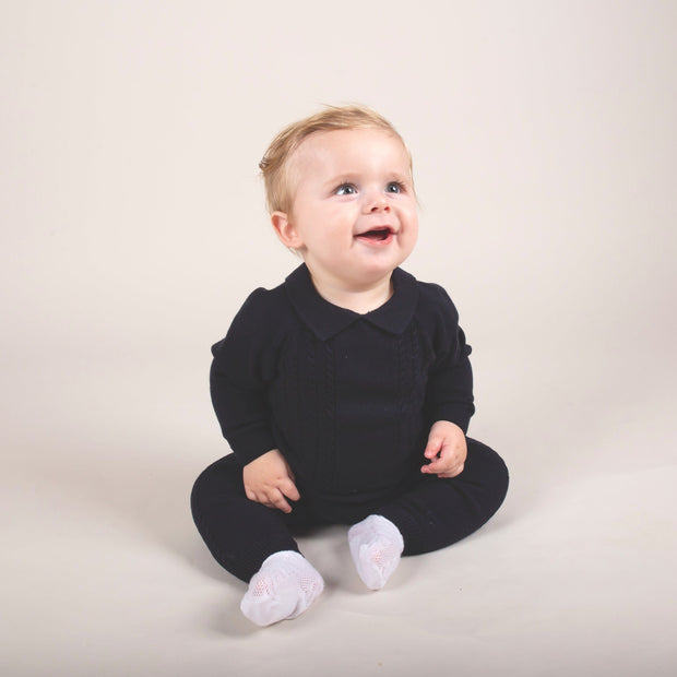 Caramelo Kids Navy Blue Cable Knit Polo Shirt & Trousers | Millie and John