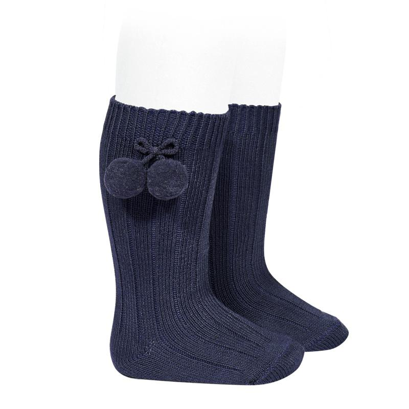 Condor Navy Blue Knee High Pom Pom Socks | Millie and John
