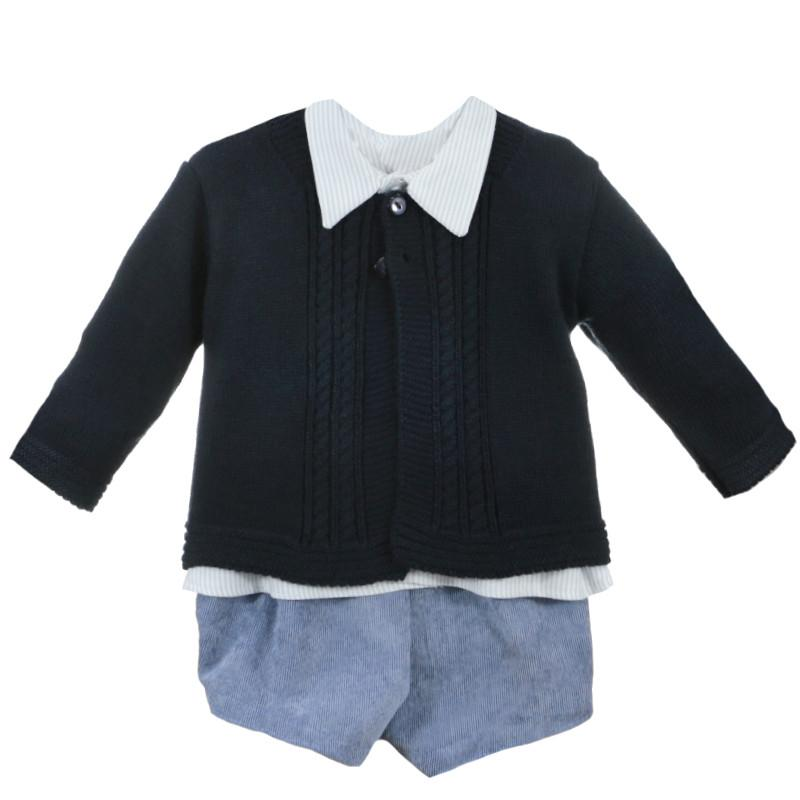 Navy Blue Striped Cardigan Set