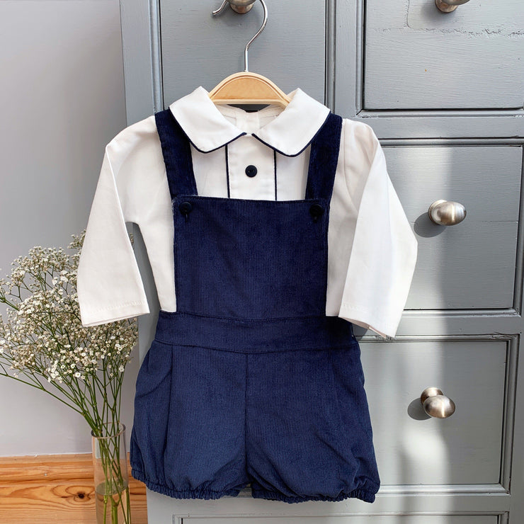 Little Nosh Navy Cord Dungaree Set | Millie and John