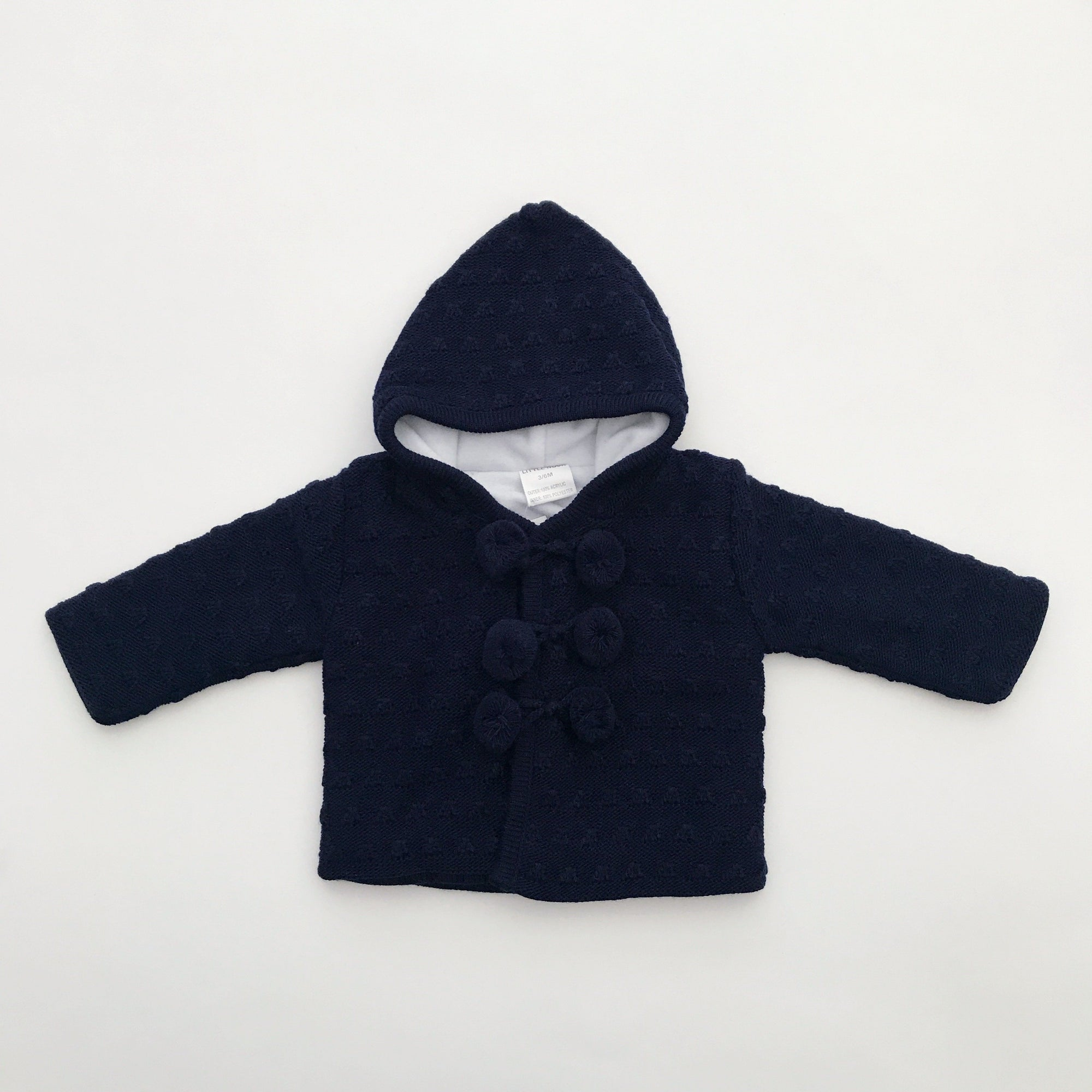 Little Nosh Navy Fleece Lined Knitted Hoodie | Millie and John