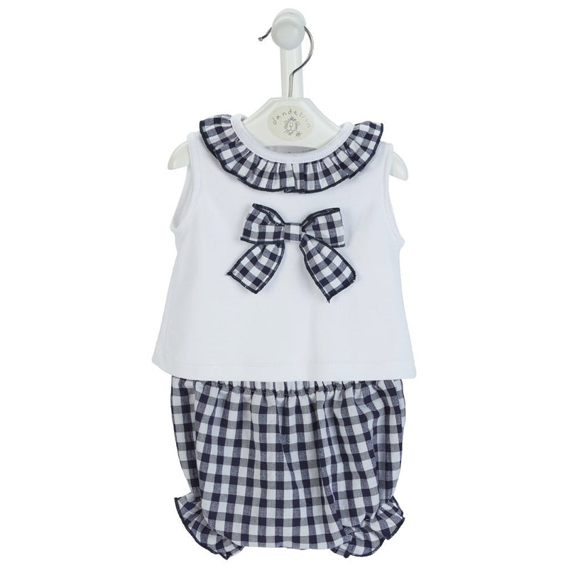 Dandelion Navy Gingham Blouse & Knickers | Millie and John