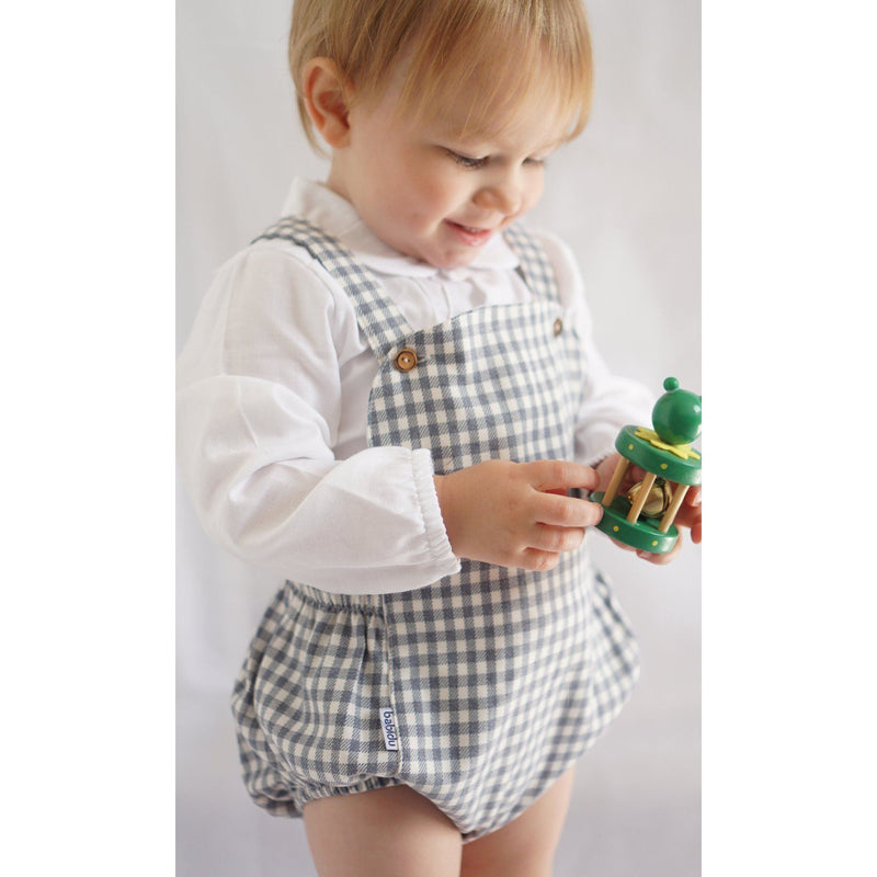 Babidu Navy Gingham Dungaree Romper | Millie and John