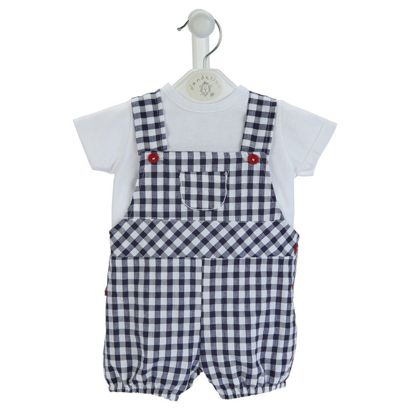 Dandelion Navy Gingham Seersucker Dungaree Set | Millie and John