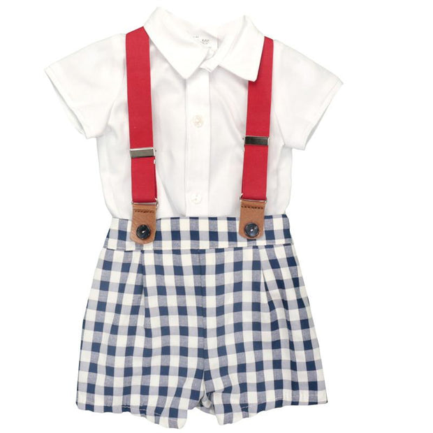 Baby-Ferr Navy Gingham Shorts with Braces Set | Millie and John