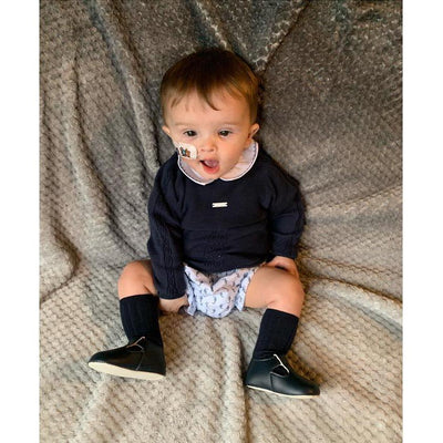 Wedoble Navy Jumper, Bodysuit & Smocked Jam Pants | Millie and John
