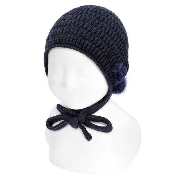 Condor Navy Knitted Bonnet with Pom Poms | Millie and John