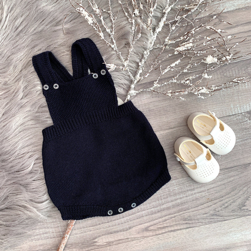 Wedoble Navy Knitted Dungaree Romper | Millie and John